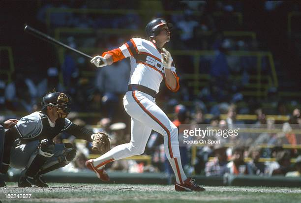 Greg Walker of the Chicago White Sox bats against the New York Yankees during an Major League Baseball game circa 1986 at Comiskey Park in Chicago...
