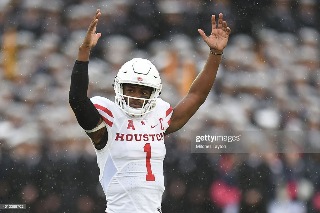 Greg Ward Jr. #1 of the Houston Cougars celebrates teams first touchdown in the first period a football game against the Navy Midshipmen at Navy-Marines Memorial Stadium on October 8, 2016 in Annapolis, Maryland.