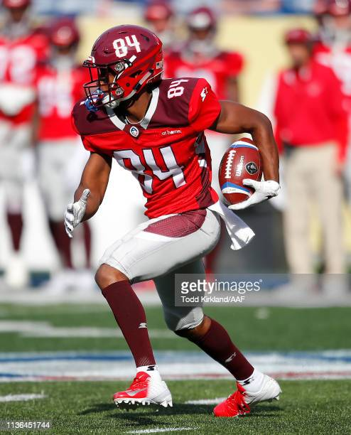Greg Ward Jr #84 of the San Antonio Commanders returns a punt for a touchdown against the Atlanta Legends during the first half in the Alliance of...