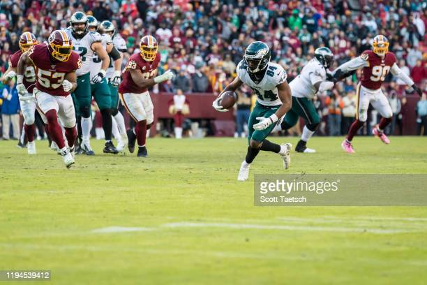 Greg Ward of the Philadelphia Eagles runs after a catch against the Washington Redskins during the second half at FedExField on December 15 2019 in...
