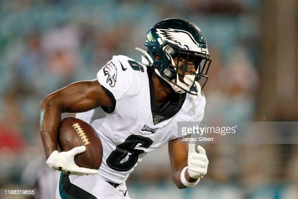 Greg Ward of the Philadelphia Eagles runs the ball against the Jacksonville Jaguars during a preseason game at TIAA Bank Field on August 15 2019 in...