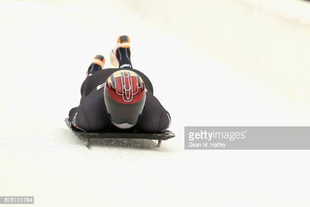 Greg West of the USA takes a training run in the Men's Skeleton during the BMW IBSF Bobsleigh + Skeleton World Cup at Utah Olympic Park November 16,...