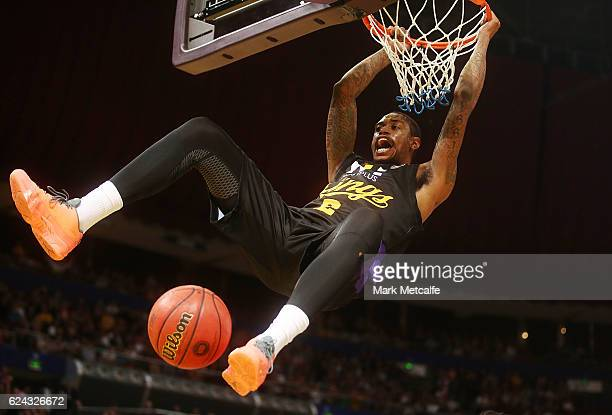 Greg Whittington of the Kings celebrates a basket during the round seven NBL match between the Sydney Kings and the Perth Wildcats at Qudos Bank...
