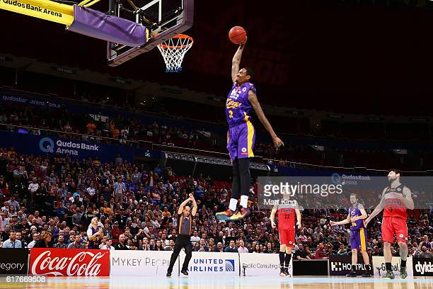 Greg Whittington of the Kings drives to the basket during the round three NBL match between the Sydney Kings and the Illawarra Hawks at Qudos Bank...