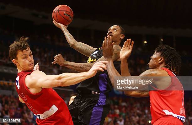 Greg Whittington of the Kings drives to the basket during the round seven NBL match between the Sydney Kings and the Perth Wildcats at Qudos Bank...