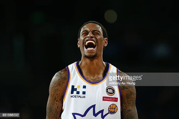Greg Whittington of the Kings reacts during the round 15 NBL match between the New Zealand Breakers and the Sydney Kings at Vector Arena on January...