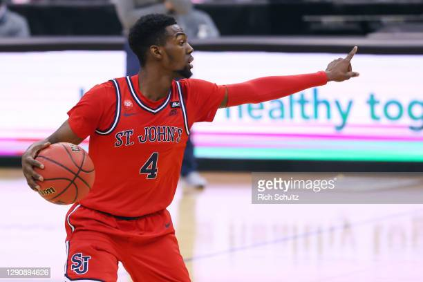 Greg Williams Jr. #4 of the St. John's Red Storm in action against the Seton Hall Pirates during an NCAA basketball game at Prudential Center on...