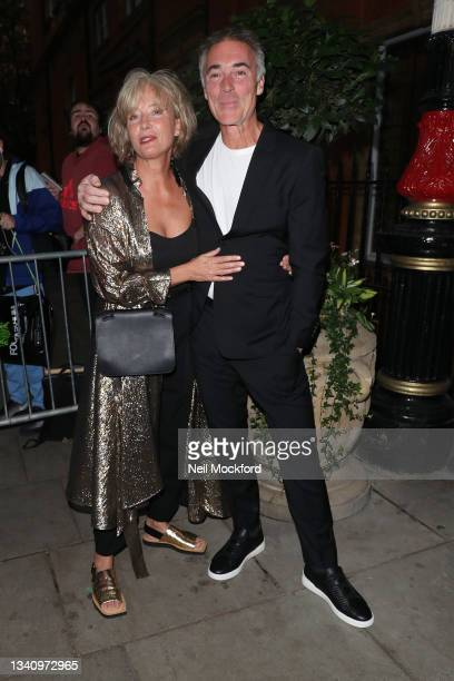 Greg Wise and Emma Thompson arrive at The Icon Ball during London Fashion Week September 2021 at The Landmark Hotel on September 17, 2021 in London,...