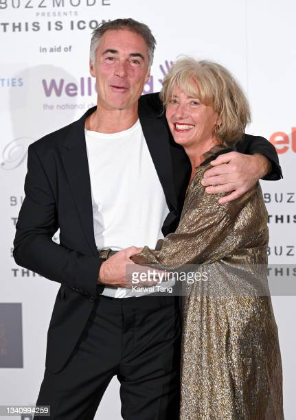 Greg Wise and Emma Thompson attend The Icon Ball 2021 during London Fashion Week September 2021 at The Landmark Hotel on September 17, 2021 in...