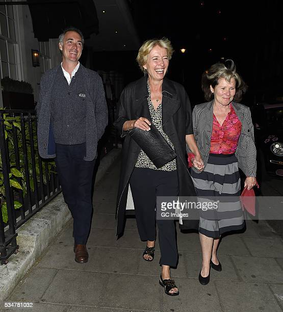 Greg Wise Emma Thompson and Imelda Staunton leave 34 restaurant in Mayfair on May 27 2016 in London England