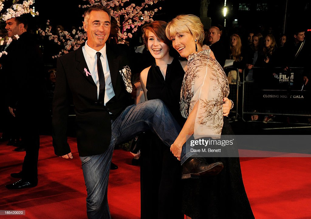 Greg Wise, Gaia Wise and Emma Thompson attend the Closing Night Gala European Premiere of 'Saving Mr Banks' during the 57th BFI London Film Festival at Odeon Leicester Square on October 20, 2013 in London, England.