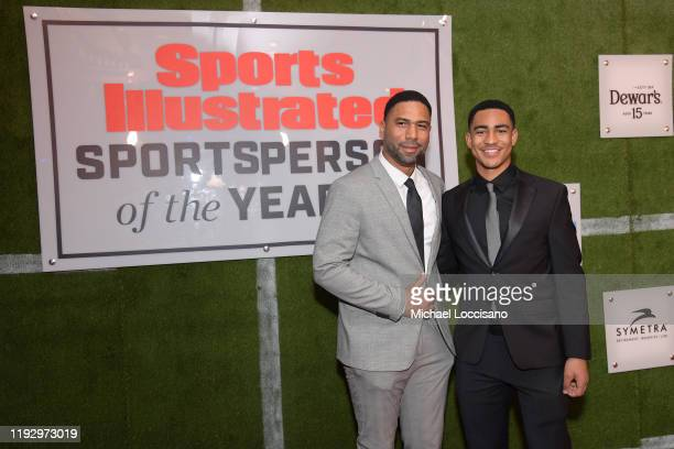 Greg Young and Mater Dei QB Bryce Young attend the 2019 Sports Illustrated Sportsperson Of The Year at The Ziegfeld Ballroom on December 09 2019 in...