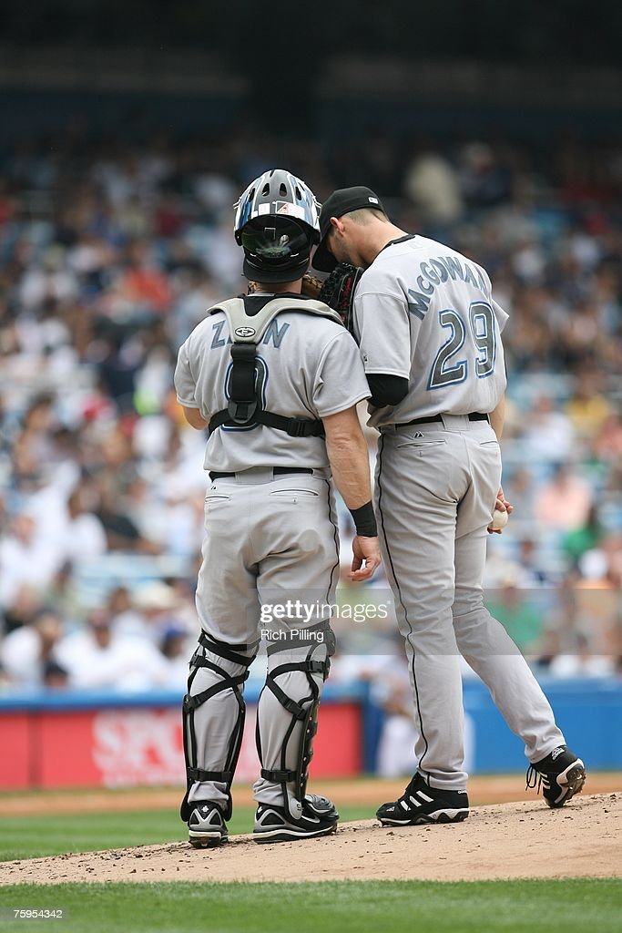 Greg Zaun of the Toronto Blue Jays talks with Dustin McGowan during the game against the New York Yankees at the Yankee Stadium in the Bronx, New York on July 19, 2007. The Blue Jays defeated the Yankees 3-2.
