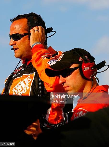 Greg Zipadelli , crew chief for the The Home Depot Chevrolet, stands with a crew members on the pit box during the NASCAR Nextel Cup Series LifeLock...