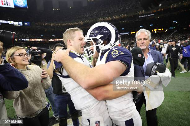Greg Zuerlein of the Los Angeles Rams celebrates after kicking the game winning field goal in overtime against the New Orleans Saints in the NFC...