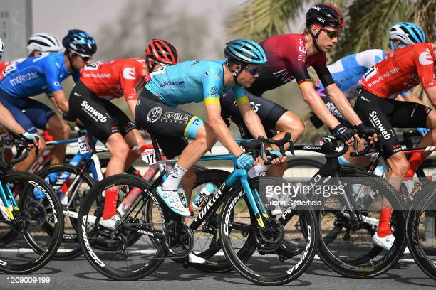Gregaard Wilsly Jonas of Denmark and Astana Pro Team / Christian Knees of Germany and Team INEOS / Peloton / during the 6th UAE Tour 2020 Stage 5 a...