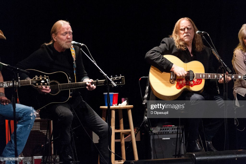 Gregg Allman (L) and Warren Haynes perform on stage during the All For The Hall New York concert benefiting the Country Music Hall Of Fame at Best Buy Theater on February 26, 2013 in New York City.