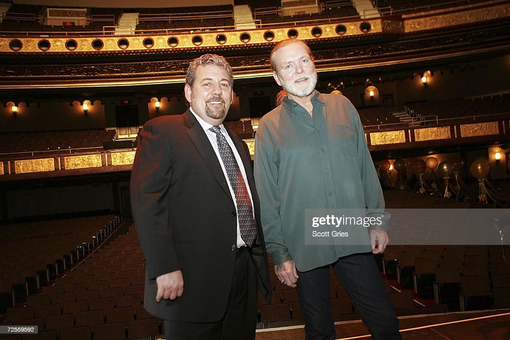 Gregg Allman of the Allman Brothers Band (R) and Chairman of Madison Square Garden James L. Dolan pose for a photo onstage following a press conference to announce that MSG Entertainment will acquire the Beacon Theater on November 15, 2006 at the Beacon Theater in New York City.