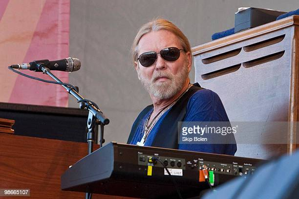 Gregg Allman of The Allman Brothers performs during day 3 of the 41st annual New Orleans Jazz Heritage Festival at the Fair Grounds Race Course on...