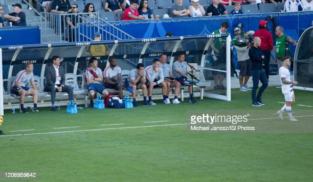 Gregg Berhalter and the USMNT bench during a game between Costa Rica and USMNT at Dignity Health Sports Park on February 1 2020 in Carson California