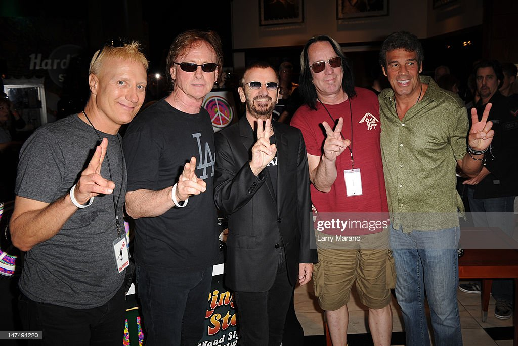 Gregg Bissonette, Richard Page, Ringo Starr, Todd Rundgren and Mark Rivera of Ringo's All Starr Band pose at at Hard Rock Cafe on June 30, 2012 in Hollywood, Florida.