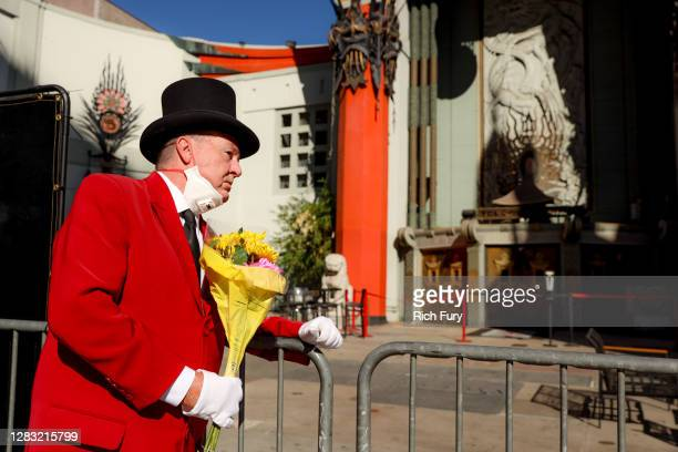 Gregg Donovan pays his respects to Sean Connery at the TCL Chinese Theatre on October 31, 2020 in Hollywood, California. The Scottish actor, Sir Sean...