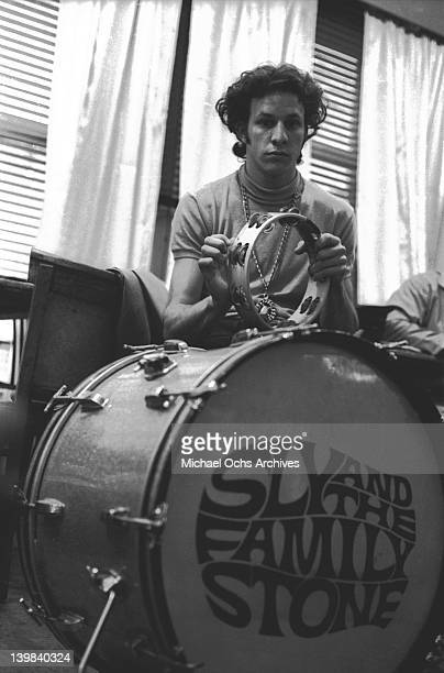 Gregg Errico of the psychedelic soul group 'Sly And The Family Stone' rehearsing for a performance on the TV show 'Kraft Music Hall' on June 27 1968...