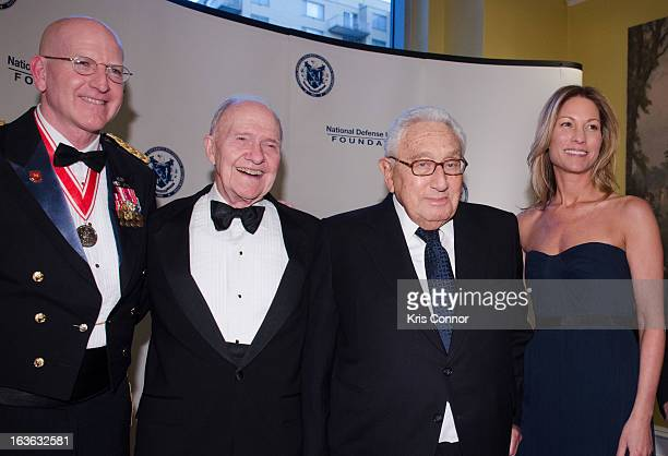 Gregg F Martin Brent Scowcroft Henry Kissinger and Cathleen Pearl attend the National Defense University Foundation's International Statesman and...