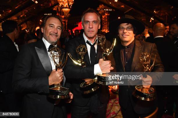Gregg Fienberg JeanMarc Vallee and Nathan Ross attend the HBO's Official 2017 Emmy After Party at The Plaza at the Pacific Design Center on September...