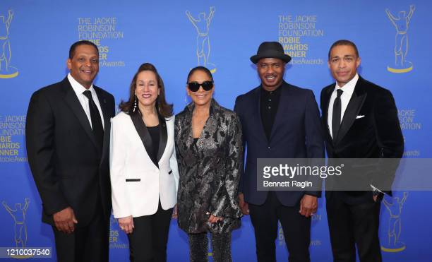 Gregg Gonsalves Della Britton Baeza Sheila E and Ray Chew and TJ Holmes attend Jackie Robinson Foundation Robie Awards Dinner at Marriot Marquis on...