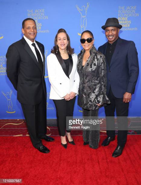Gregg Gonsalves Della Britton Baeza Sheila E and Ray Chew attend Jackie Robinson Foundation Robie Awards Dinner at Marriot Marquis on March 02 2020...