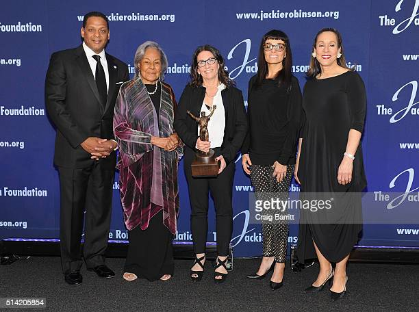 Gregg Gonsalves Rachel Robinson Bobbi Brown Norma Kamali and Della Britton Baeza attend the Jackie Robinson Foundation annual awards dinner at the...
