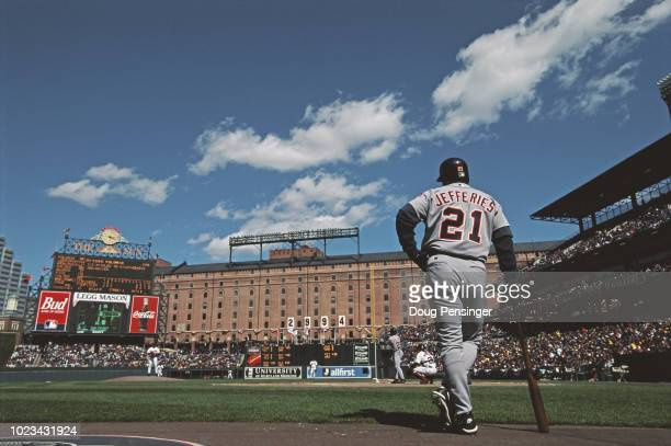 Gregg Jefferies Designated Hitter and Second Baseman for the Detroit Tigers stands in the on deck circle during the Major League Baseball American...