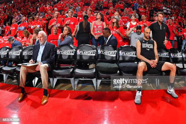 Gregg Popovich and Manu Ginobili of the San Antonio Spurs sit on the bench beforeGame Six of the Western Conference Semifinals against the Houston...