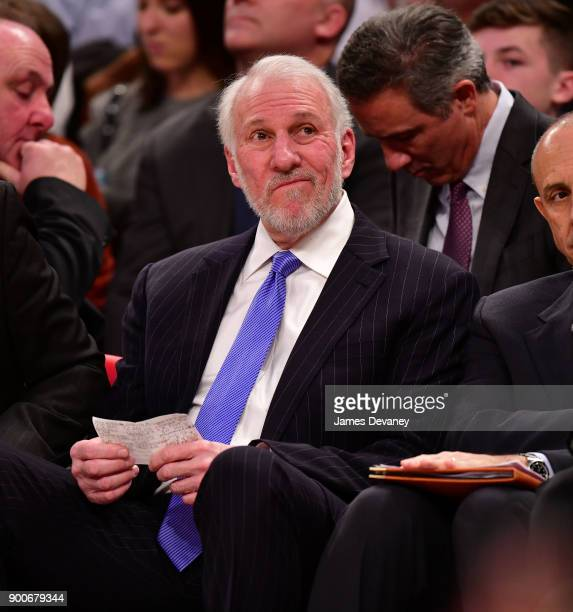 Gregg Popovich attends the New York Knicks Vs San Antonio Spurs game at Madison Square Garden on January 2 2018 in New York City