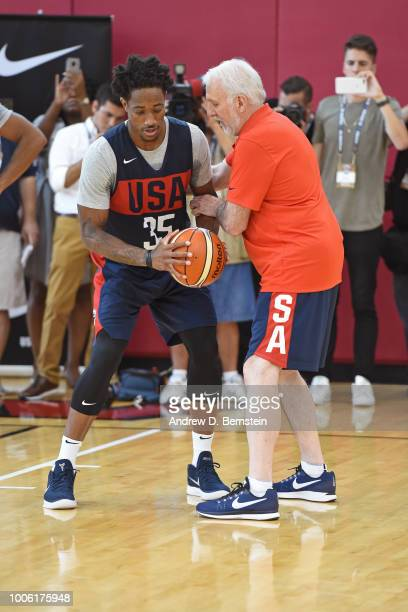 Gregg Popovich coaches DeMar DeRozan during USAB Minicamp Practice at Mendenhall Center on the University of Nevada Las Vegas campus on July 26 2018...
