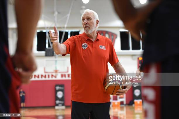 Gregg Popovich coaches during USAB Minicamp Practice at Mendenhall Center on the University of Nevada Las Vegas campus on July 26 2018 in Las Vegas...