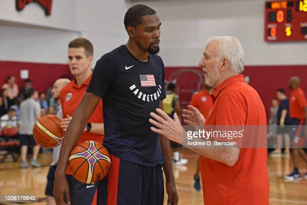 Gregg Popovich coaches Kevin Durant during USAB Minicamp Practice at Mendenhall Center on the University of Nevada Las Vegas campus on July 26 2018...