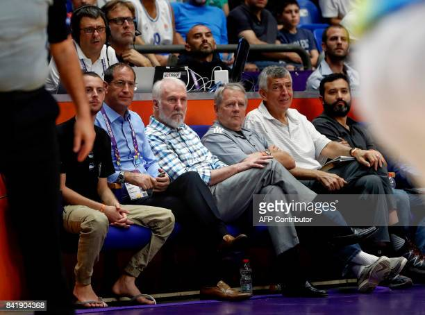 Gregg Popovich head coach of the NBA's San Antonio Spurs watches the FIBA EuroBasket 2017 basketball championship match between Ukraine and Italy at...