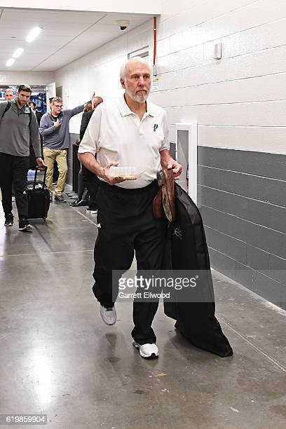 Gregg Popovich of the San Antonio Spurs arrives at the Golden 1 Center before the game against the Sacramento Kings on October 27 2016 in Sacramento...