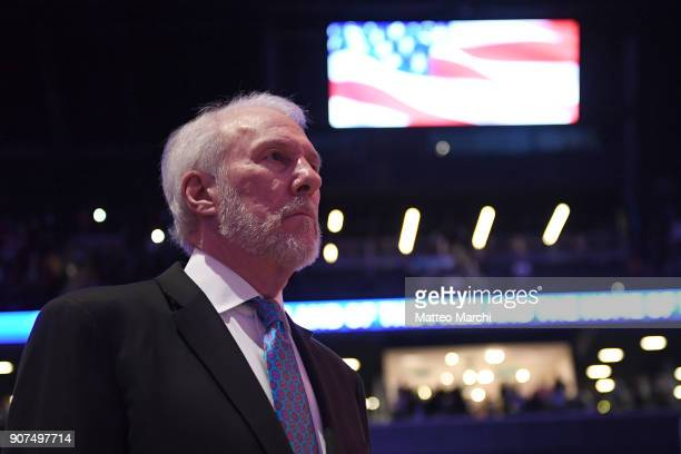 Gregg Popovich of the San Antonio Spurs before the game against the Brooklyn Nets at Barclays Center on January 17 2018 in Brooklyn New York NOTE TO...