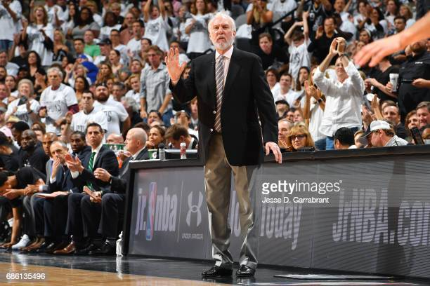 Gregg Popovich of the San Antonio Spurs calls out to his team during the game against the Golden State Warriors during Game Three of the Western...