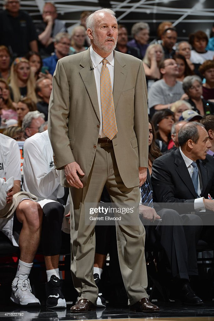 Gregg Popovich of the San Antonio Spurs coaches against the Los Angeles Clippers in Game Four of the Western Conference Quarterfinals during the 2015 NBA Playoffs on April 26, 2015 at the AT&T Center in San Antonio, Texas.