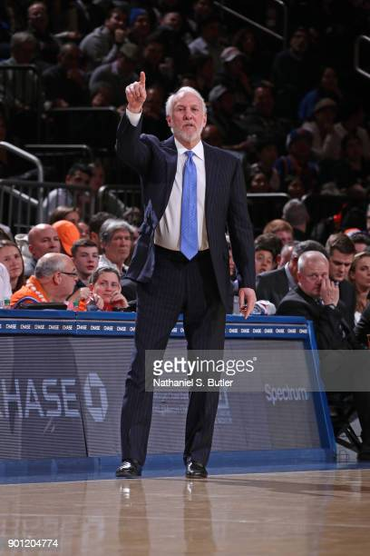 Gregg Popovich of the San Antonio Spurs coaches against the New York Knicks on January 2 2018 at Madison Square Garden in New York New York NOTE TO...