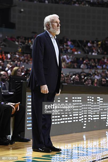 Gregg Popovich of the San Antonio Spurs coaches during the game against the Phoenix Suns as part of NBA Global Games at Arena Ciudad de Mexico on...
