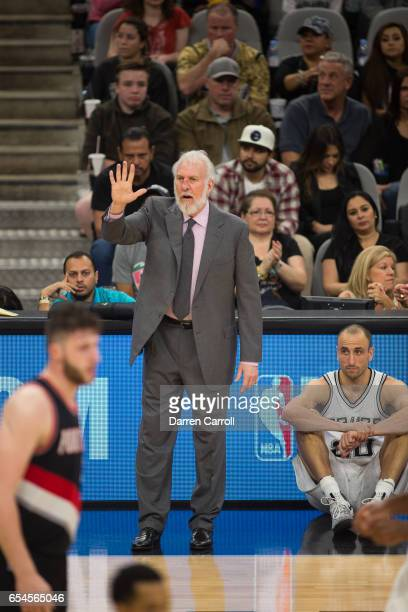 Gregg Popovich of the San Antonio Spurs during the game against the Portland Trail Blazers on March 15 2017 at the ATT Center in San Antonio Texas...