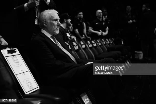 Gregg Popovich of the San Antonio Spurs line up before the game against the Brooklyn Nets at Barclays Center on January 17 2018 in Brooklyn New York...