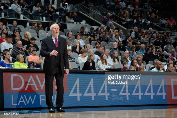 Gregg Popovich of the San Antonio Spurs looks on and coaches during the game against the Indiana Pacers on January 21 2018 at the ATT Center in San...