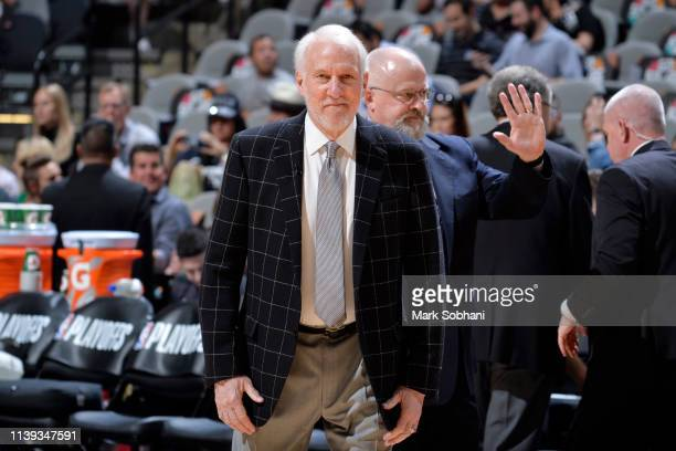 Gregg Popovich of the San Antonio Spurs looks on before Game Six of Round One of the 2019 NBA Playoffs on April 25 2019 at the ATT Center in San...