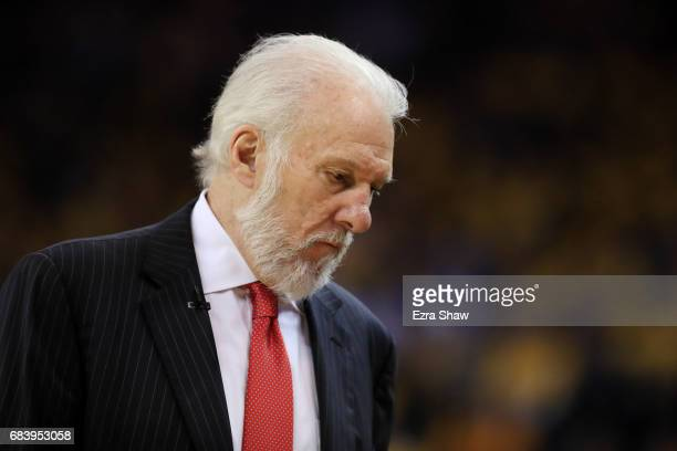 Gregg Popovich of the San Antonio Spurs looks on during Game Two of the NBA Western Conference Finals against the Golden State Warriors at ORACLE...